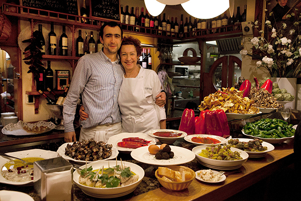 San Sebastian,Spain:Pintxo bar/restaurant Ganbara in the old town Parte Vieja. Image shot 03/2013. Exact date unknown.