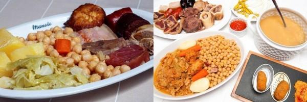 Cocido en cuatro vuelcos de La Clave (dcha.) y plato con garbanzos, verduras y carnes del Manolo. CM / NA-MG.