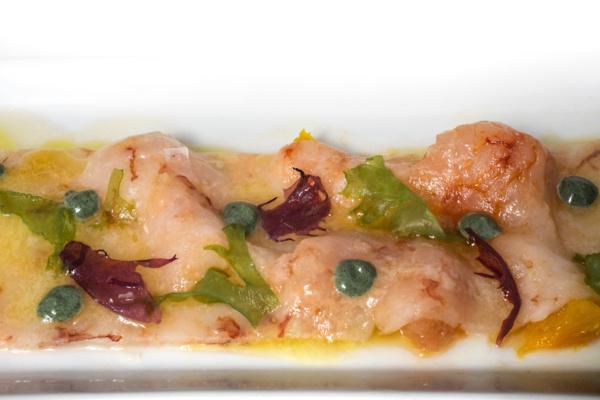 Carpaccio de gamba blanca con algas y cítricos de Valencia,