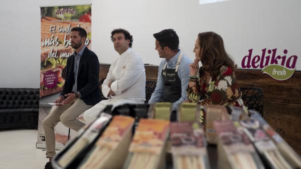 Yago Díaz, marketing manager de Delikia; Pepe Rodríguez, chef del Bohío; Marcos González, responsable de Calidad de Delikia y Mª Antonia Jiménez, presidenta de la Fundación Tierra de Hombres.